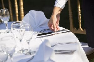 Tablecloth with silverware