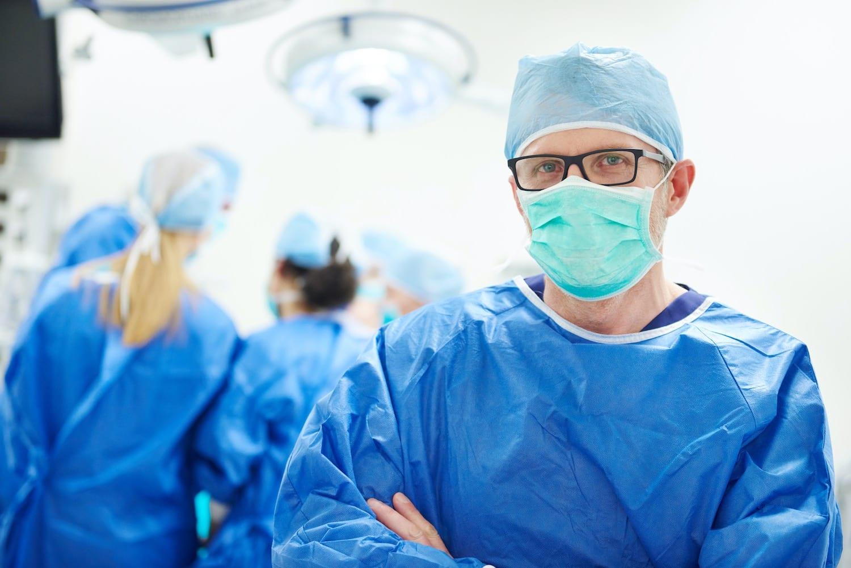 Doctore in uniform scrubs, mask