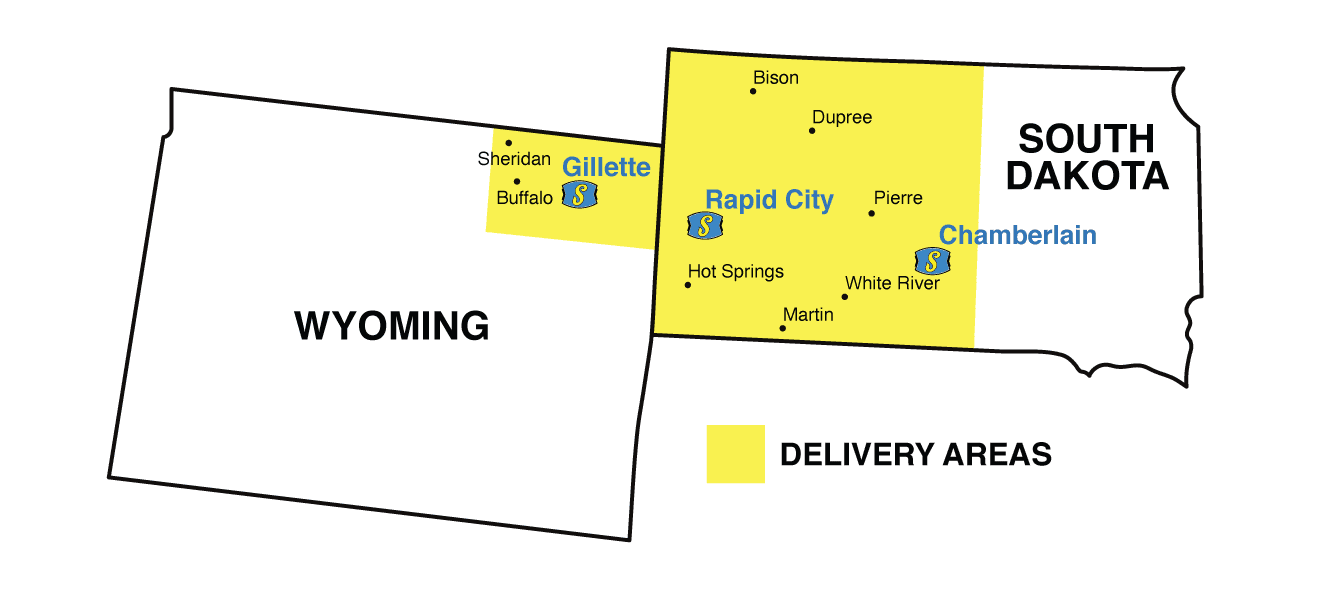 Wyoming and South Dakota map of Servall Service Areas